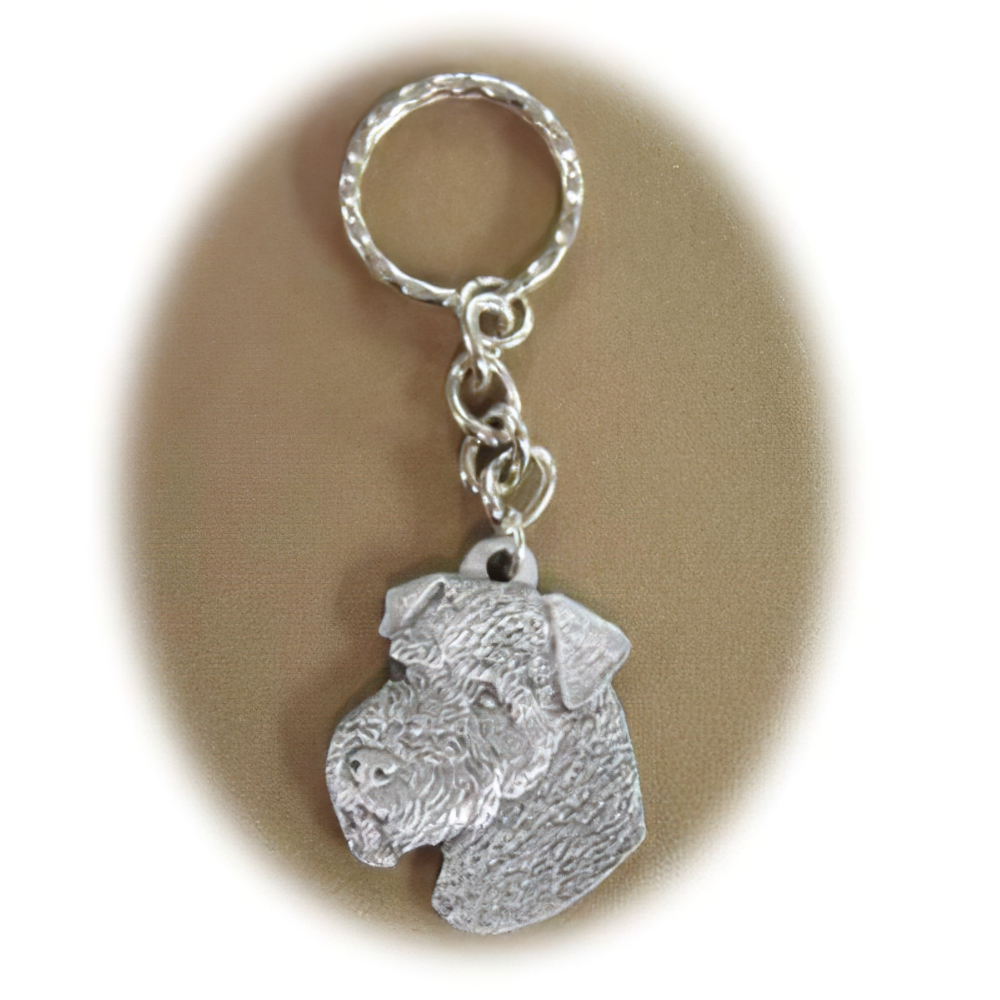 Pewter Key Chain I Love My Airedale
