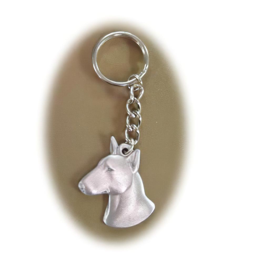 Pewter Key Chain I Love My Bull Terrier