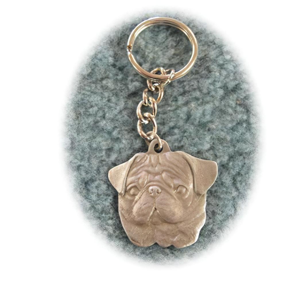 Pewter Key Chain I Love My Pug