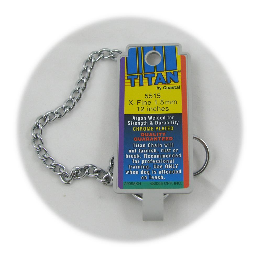 Coastal Titan Chrome Steel Dog Choke Chain XFine 12 inch