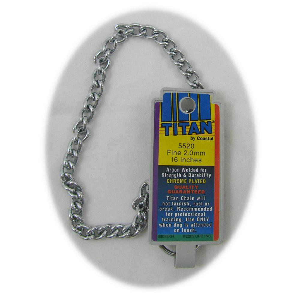 Coastal Titan Chrome Steel Dog Choke Chain Fine 16 inch
