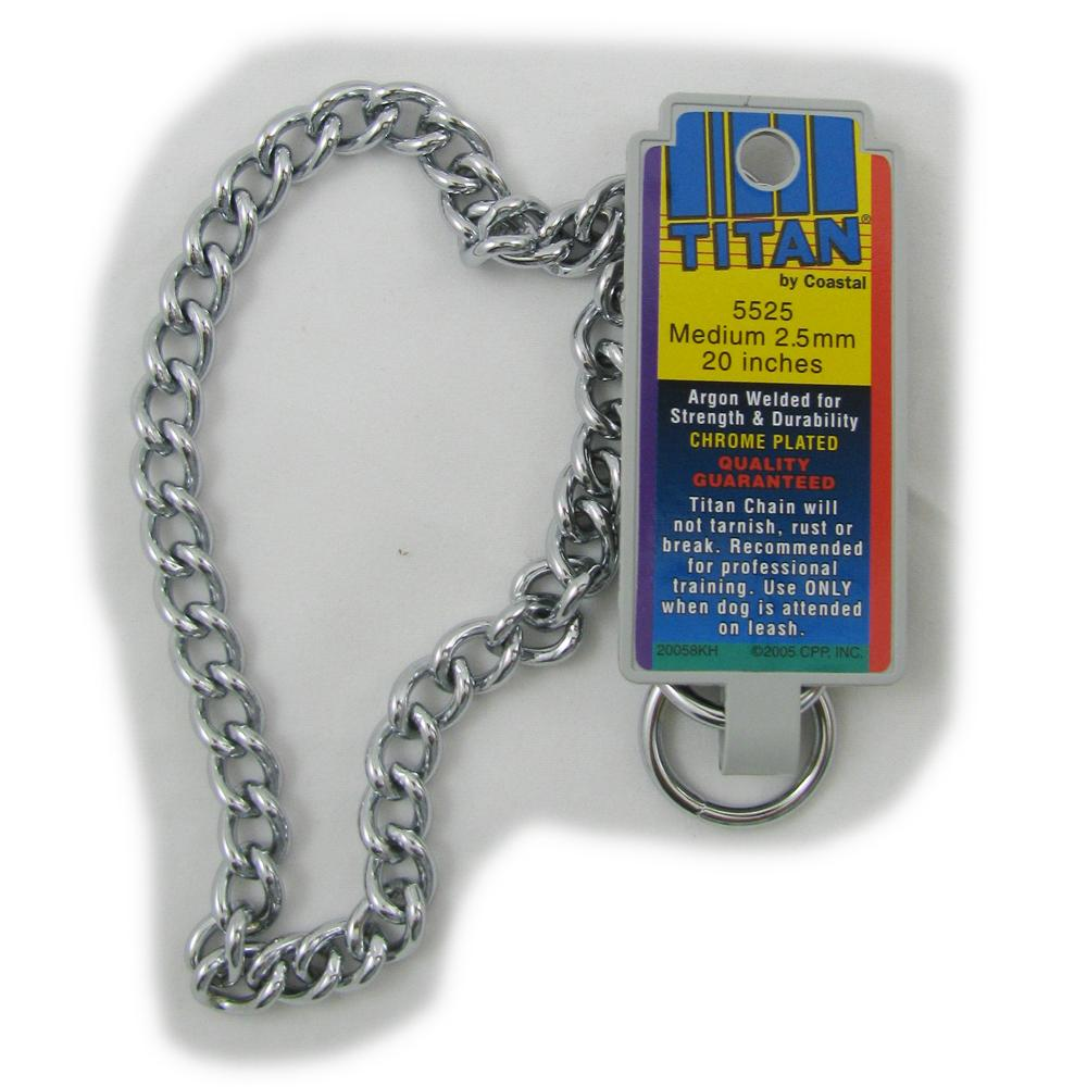 Coastal Titan Chrome Steel Dog Choke Chain Medium 20 inch