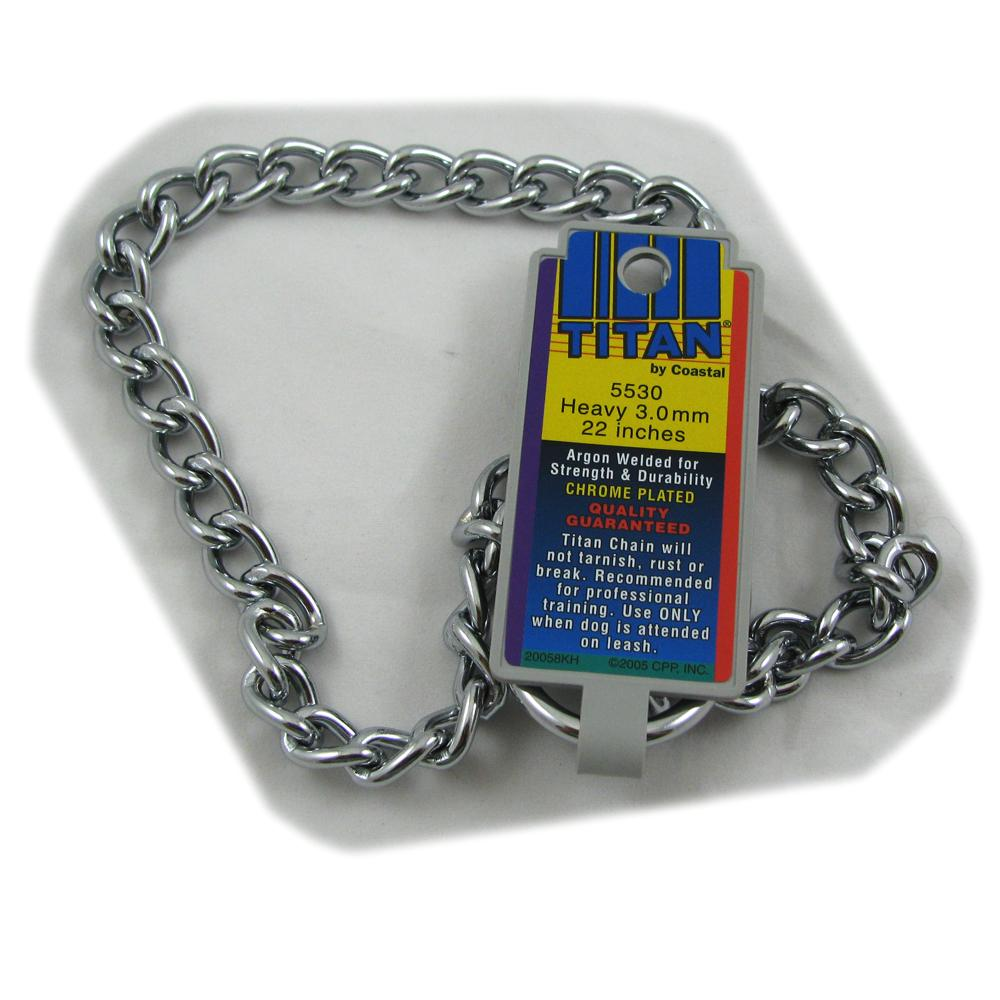 Coastal Titan Chrome Steel Dog Choke Chain Heavy 22 inch