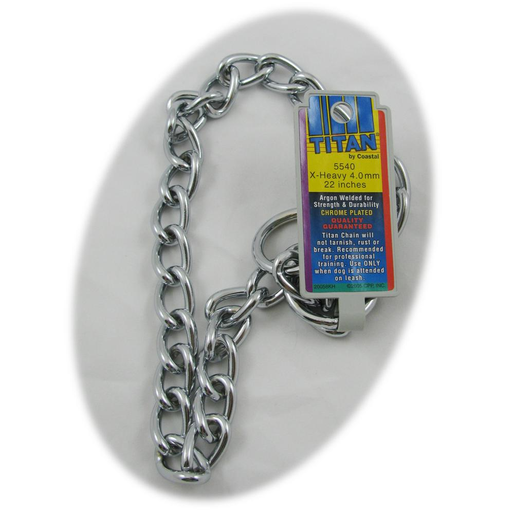 Coastal Titan Chrome Steel Dog Choke Chain XHeavy 22 inch
