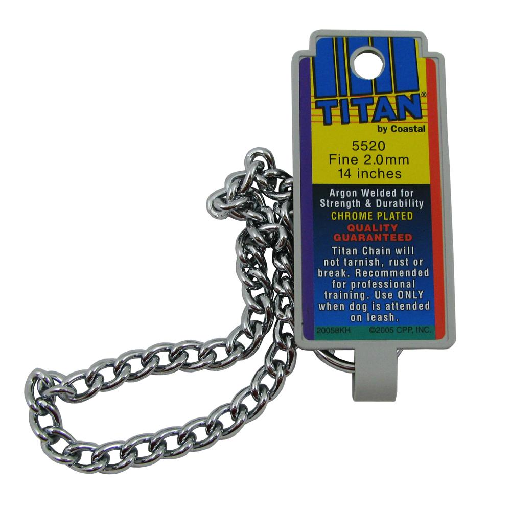 Coastal Titan Chrome Steel Dog Choke Chain Fine 14 inch