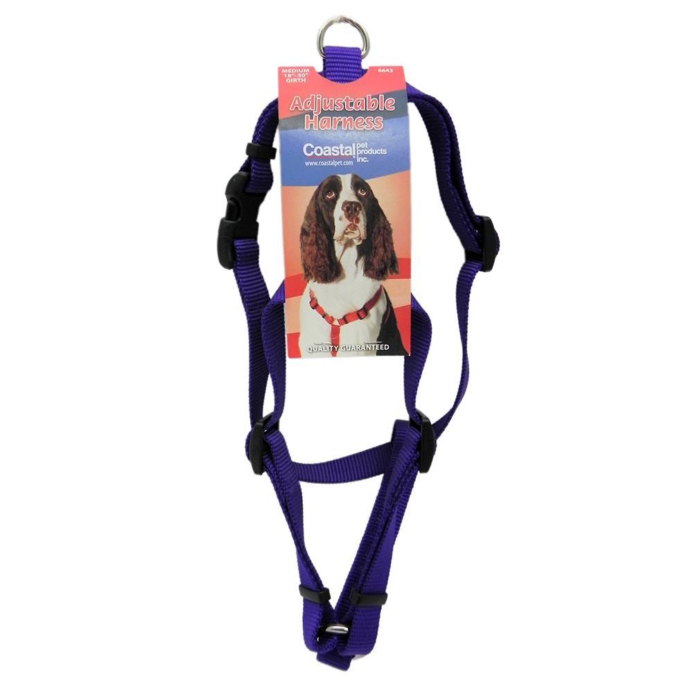 Adjustable Medium Dog Harness 3/4-inch Purple Nylon