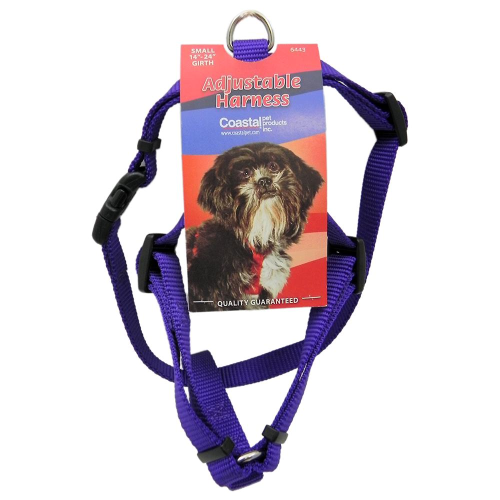 Adjustable Small Dog Harness 5/8-inch Purple Nylon