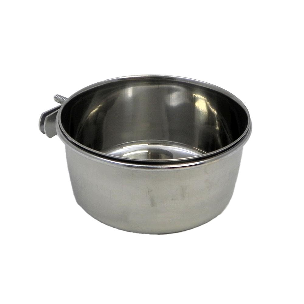 Stainless Bird Dish w/clamp 20 ounce