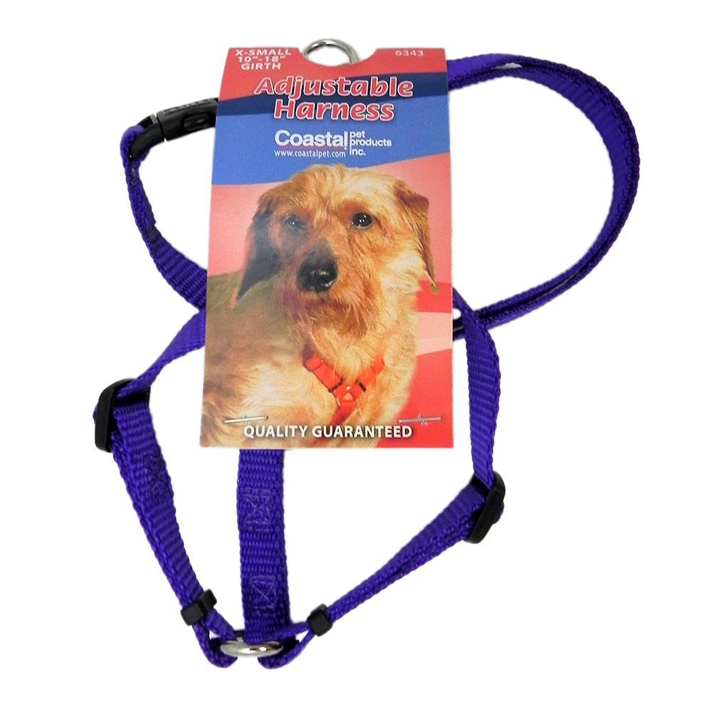 Adjustable XSmall Dog Harness 3/8-inch Purple Nylon