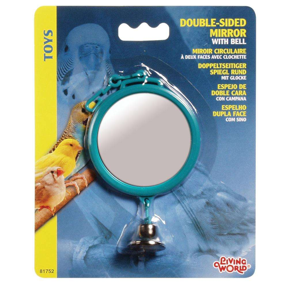 Mirror with Bell Bird Toy Small Round 2.5-inch