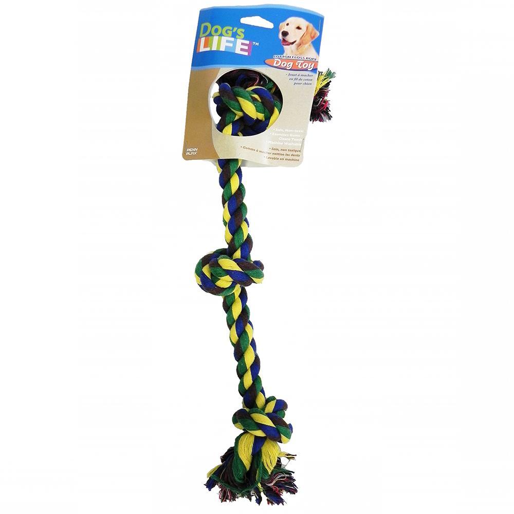 Rope Tug 3-Knot Color Medium Dog Toy