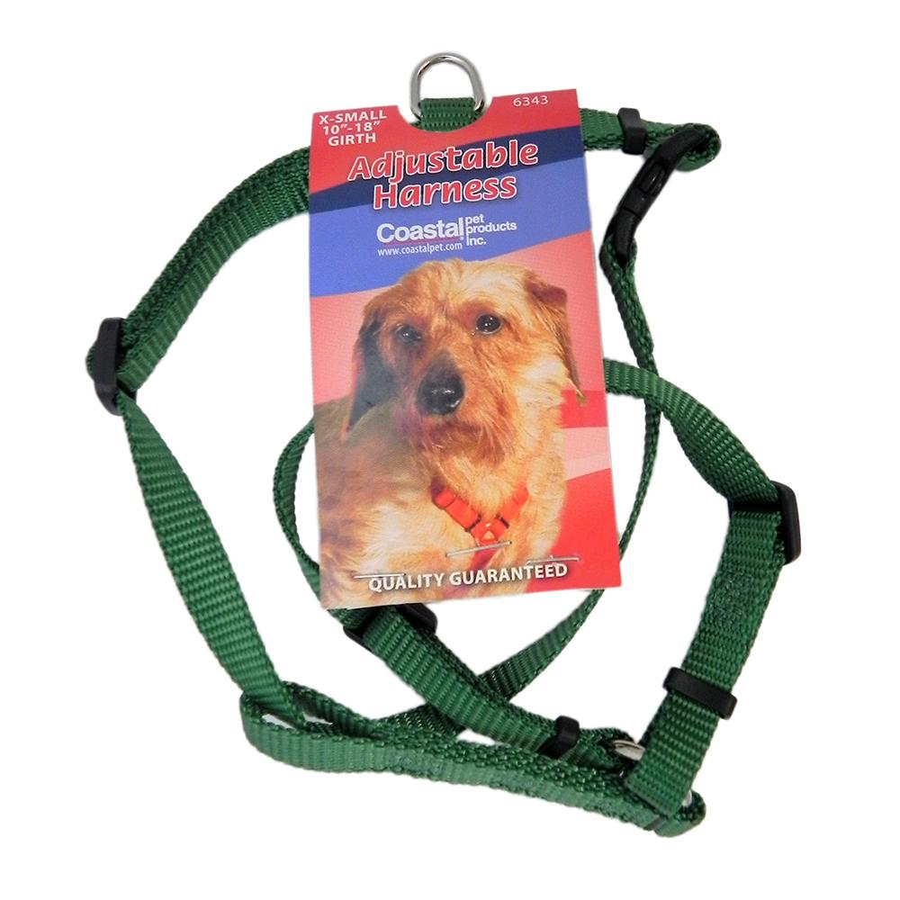 Adjustable XSmall Dog Harness 3/8-inch Green Nylon