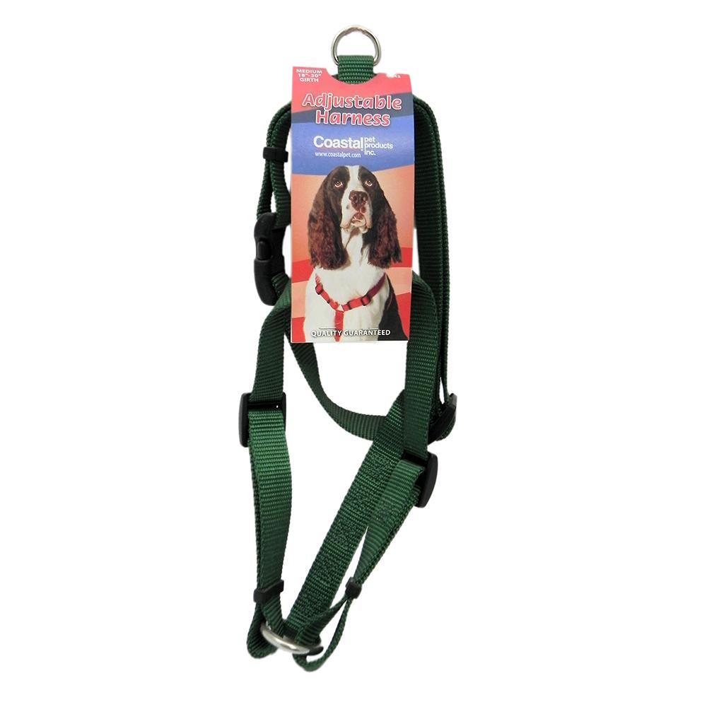 Adjustable Medium Dog Harness 3/4-inch Green Nylon