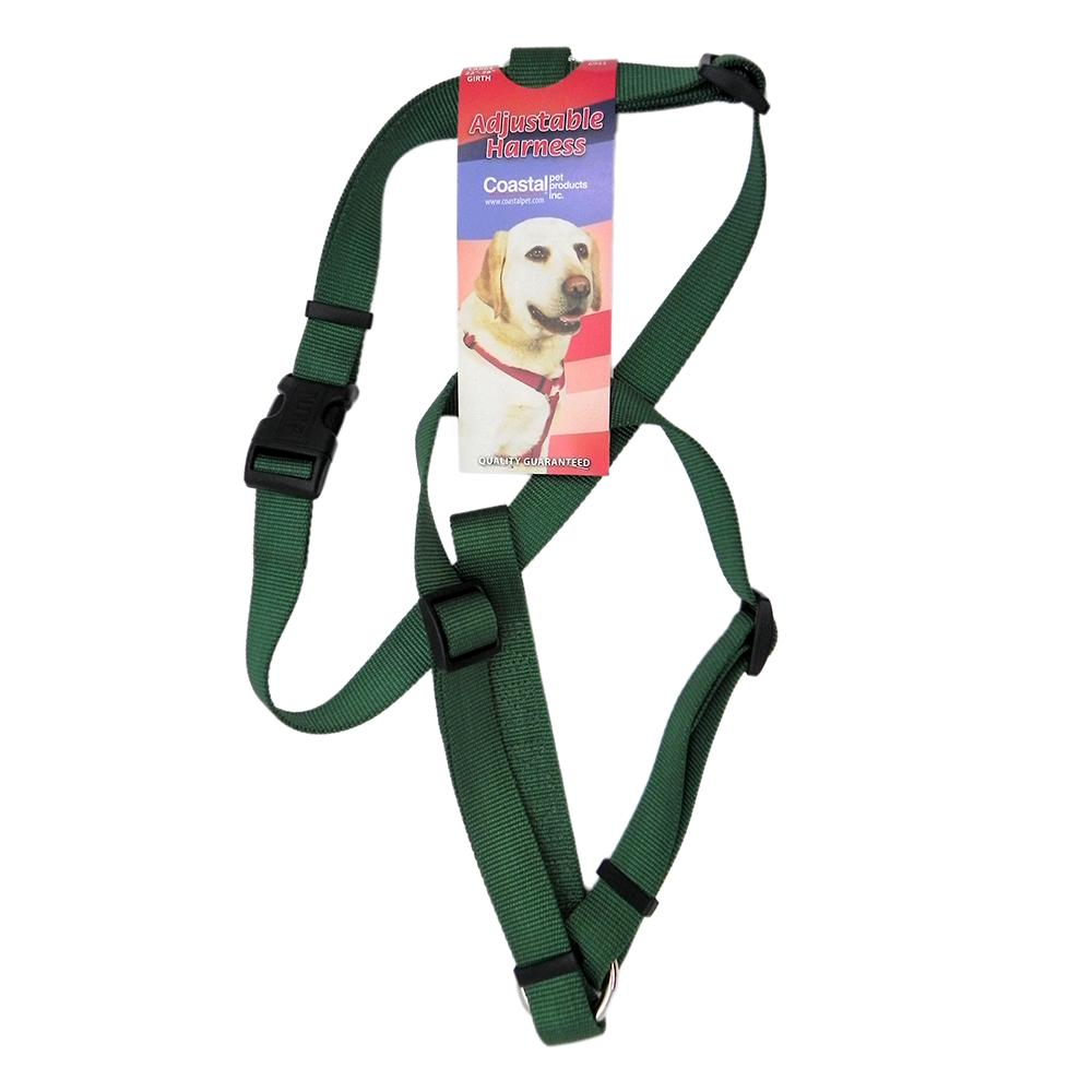 Adjustable Large Dog Harness 1-inch Green Nylon