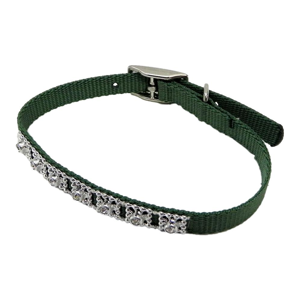 Jewelled Pet Collar 12 inch Green