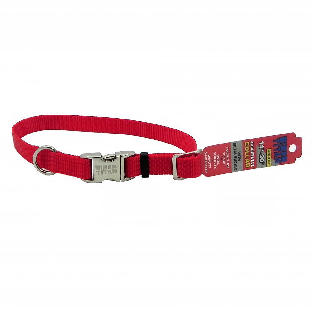Titan Medium Red Nylon Adjustable Dog Collar