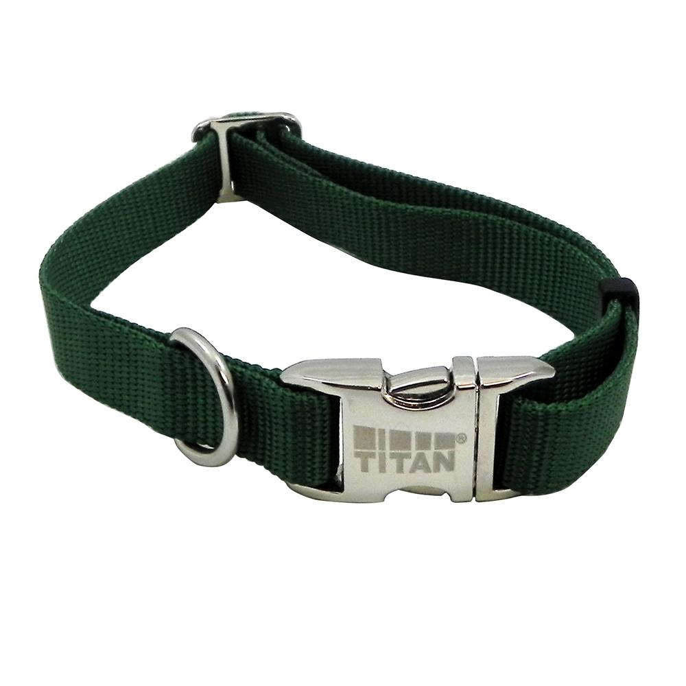 Titan Medium Green Nylon Adjustable Dog Collar