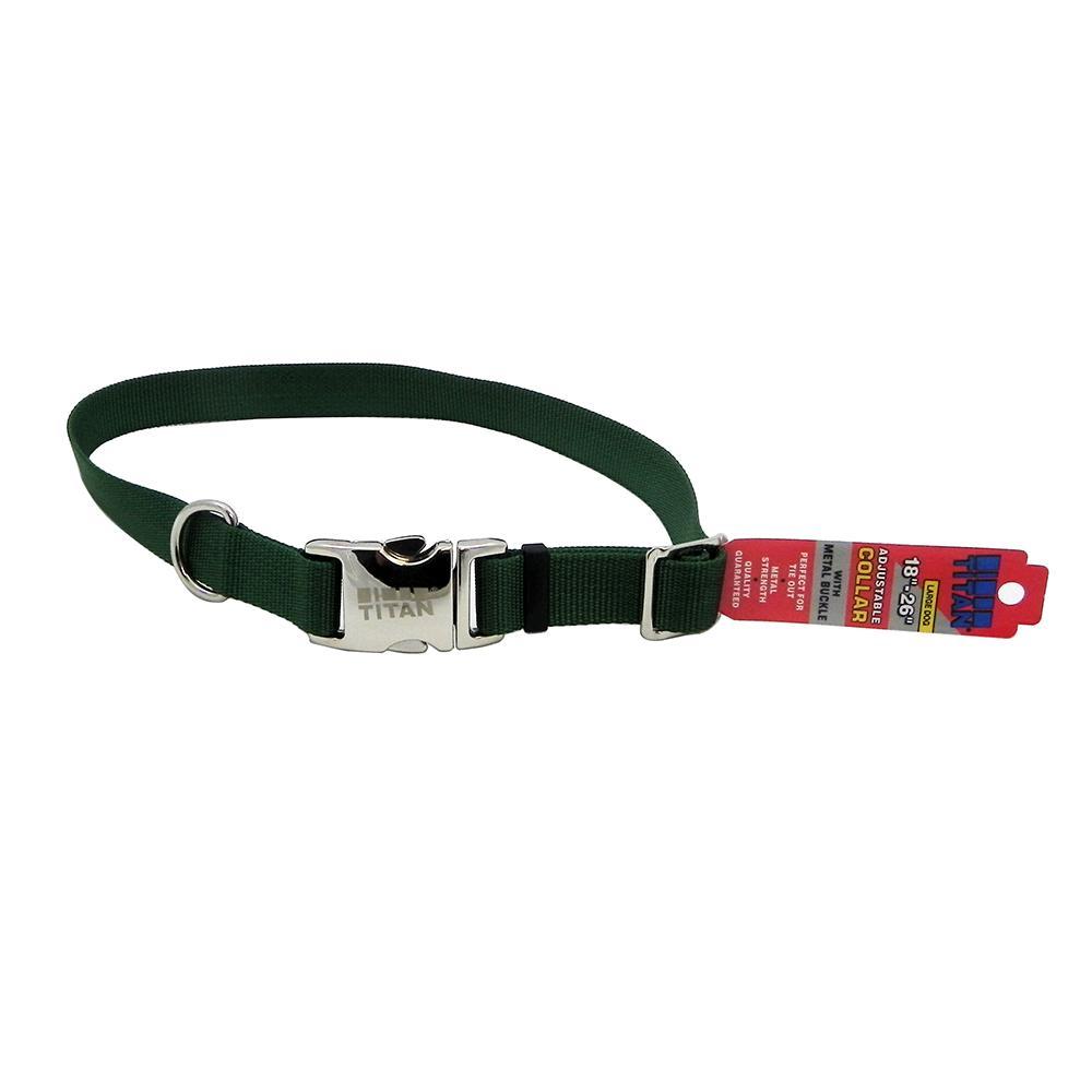 Titan Large Green Nylon Adjustable Dog Collar