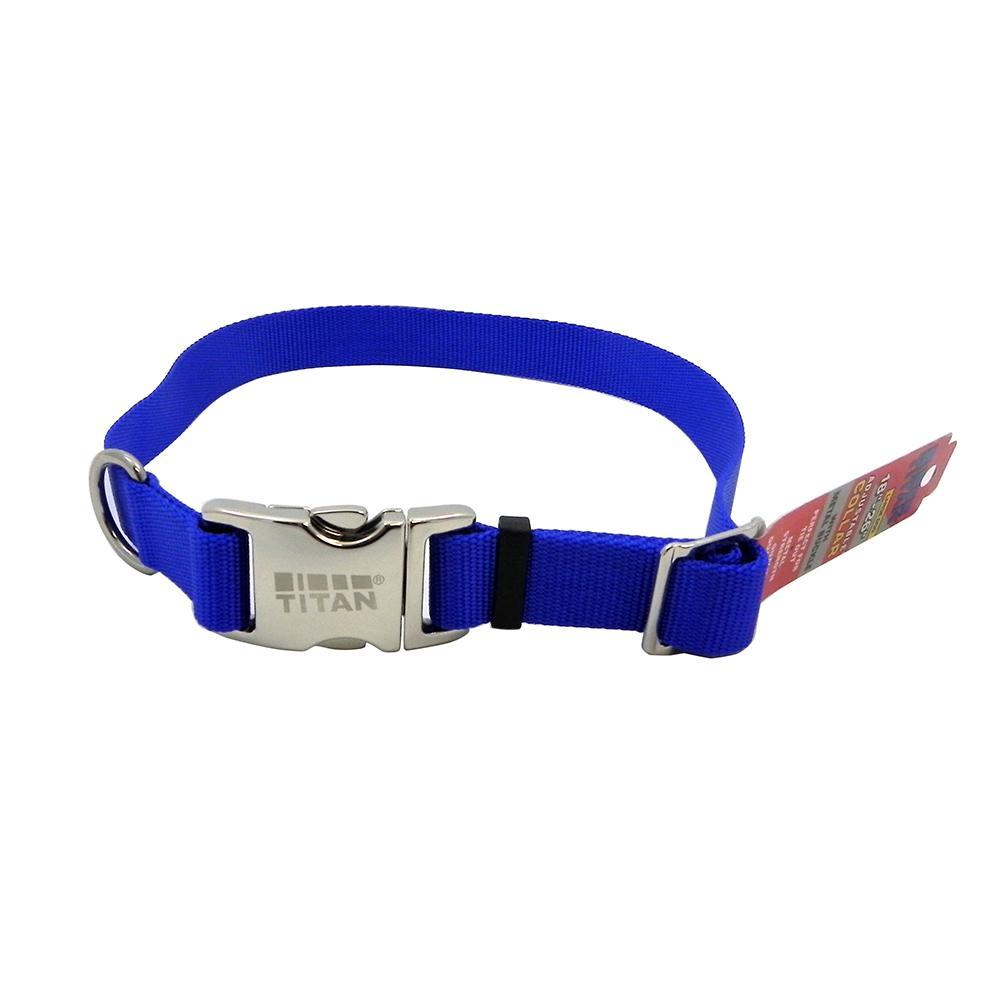 Titan Large Blue Nylon Adjustable Dog Collar