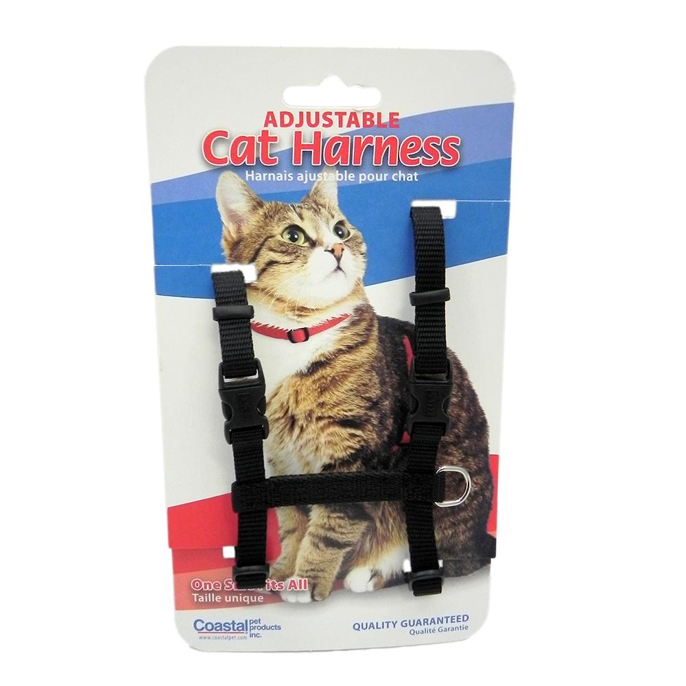 Adjustable Figure H Cat Harness Black Nylon