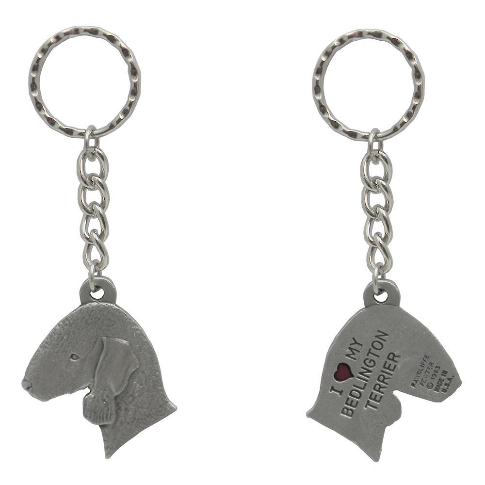 Pewter Key Chain I Love My Bedlington Terrier